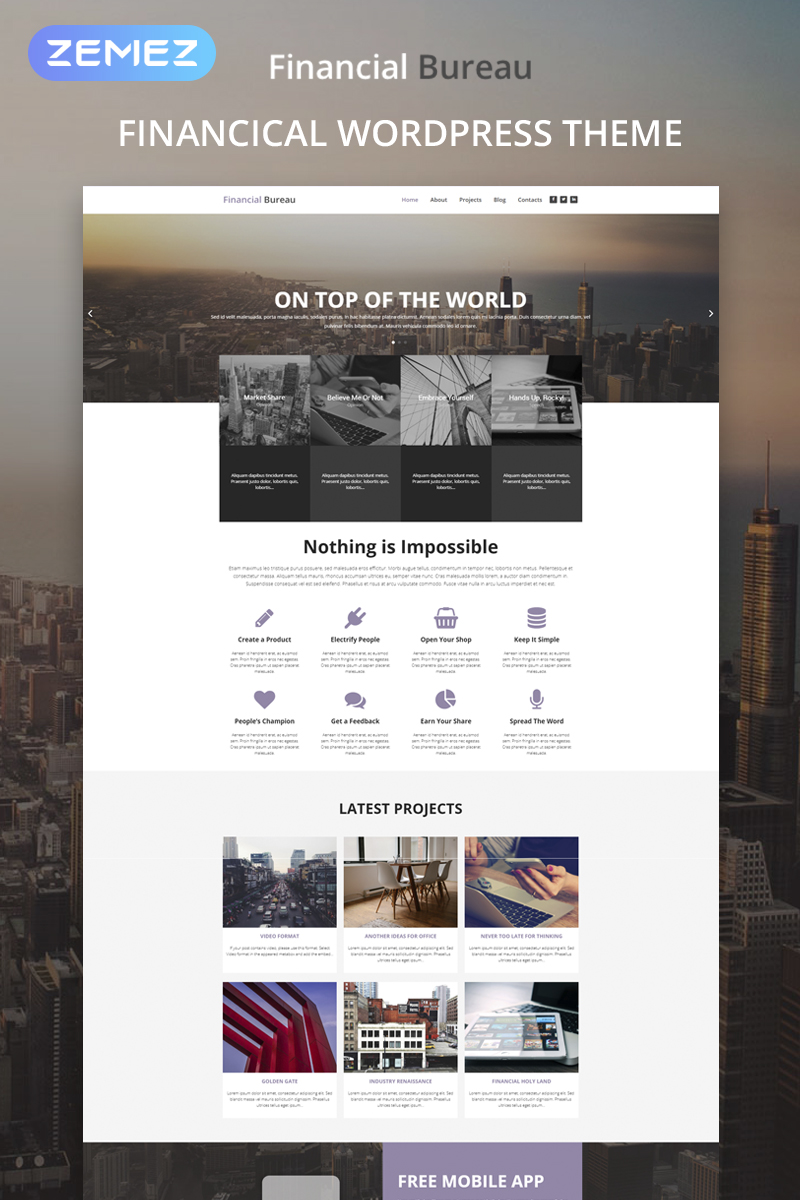"""Financial Bureau - Finance Multipurpose Modern Elementor"" thème WordPress  #53444"