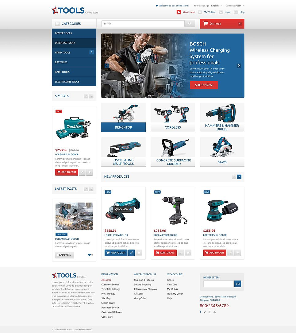 Tools magento theme for Magento homepage template