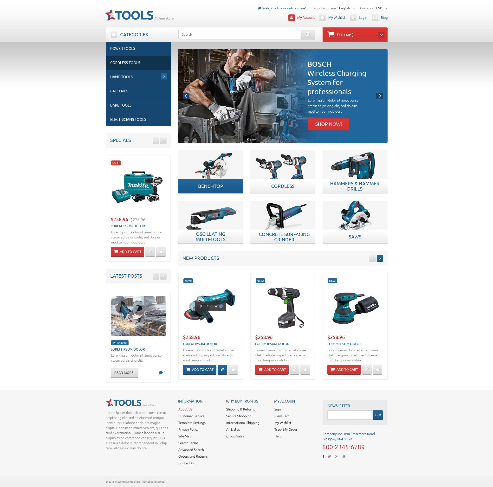 """Functional Online Shop"" thème Magento adaptatif #53458"