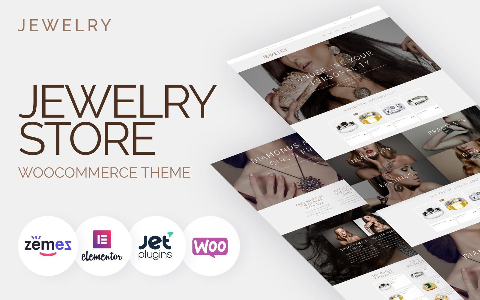 """Jewelry - Jewelry Website Design Template for Online Shops"" 响应式WooCommerce模板 #53421"
