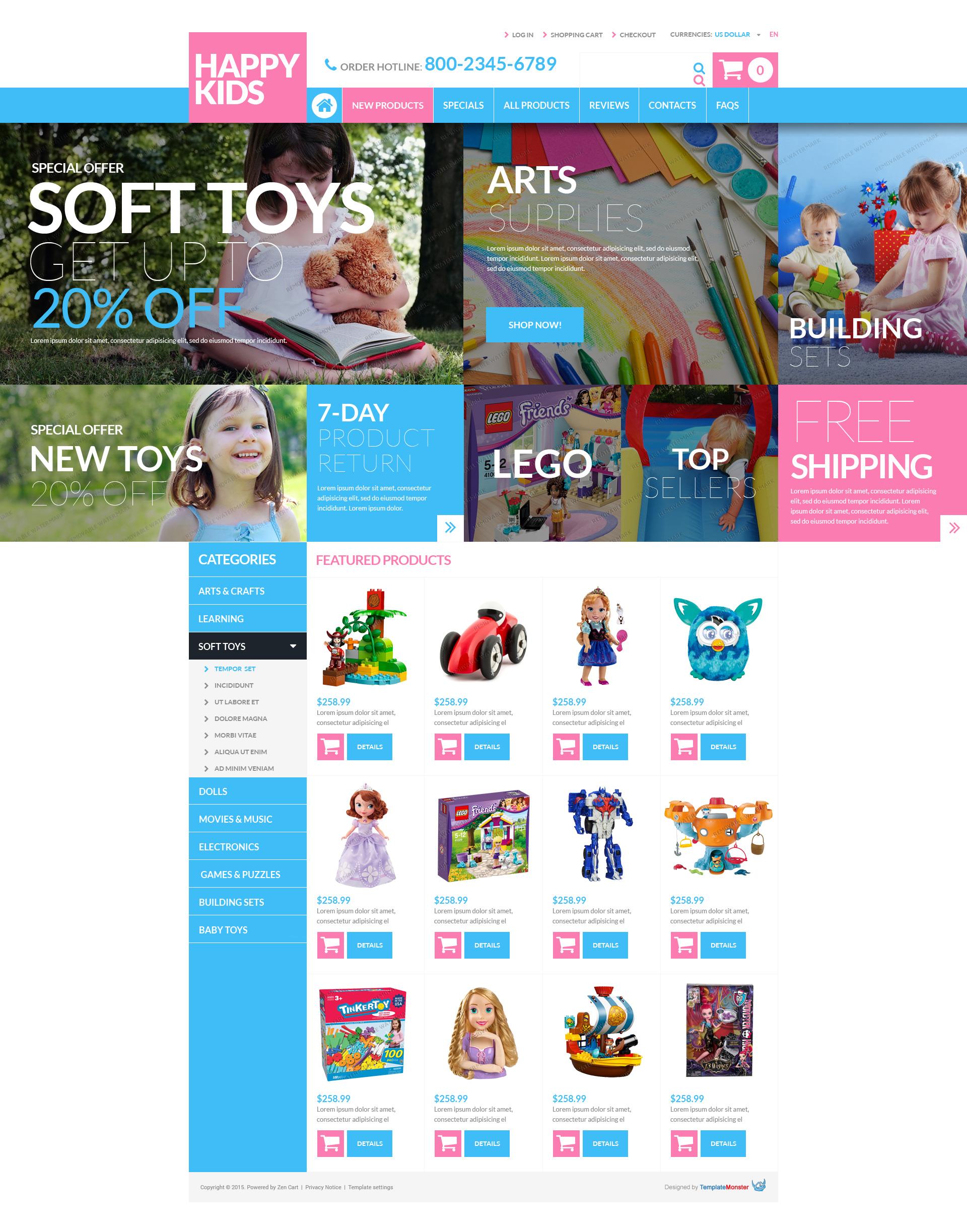 """""""Modèle ZenCart gratuit pour magasin de jouets"""" thème Zen Cart  #53479"""