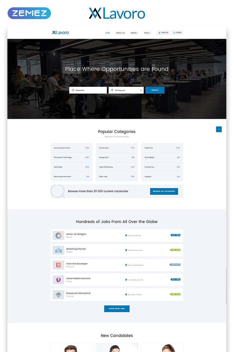 """Modello Siti Web Responsive #53408 """"Lavoro - Jobs Portal Multipage HTML5"""" - screenshot"""