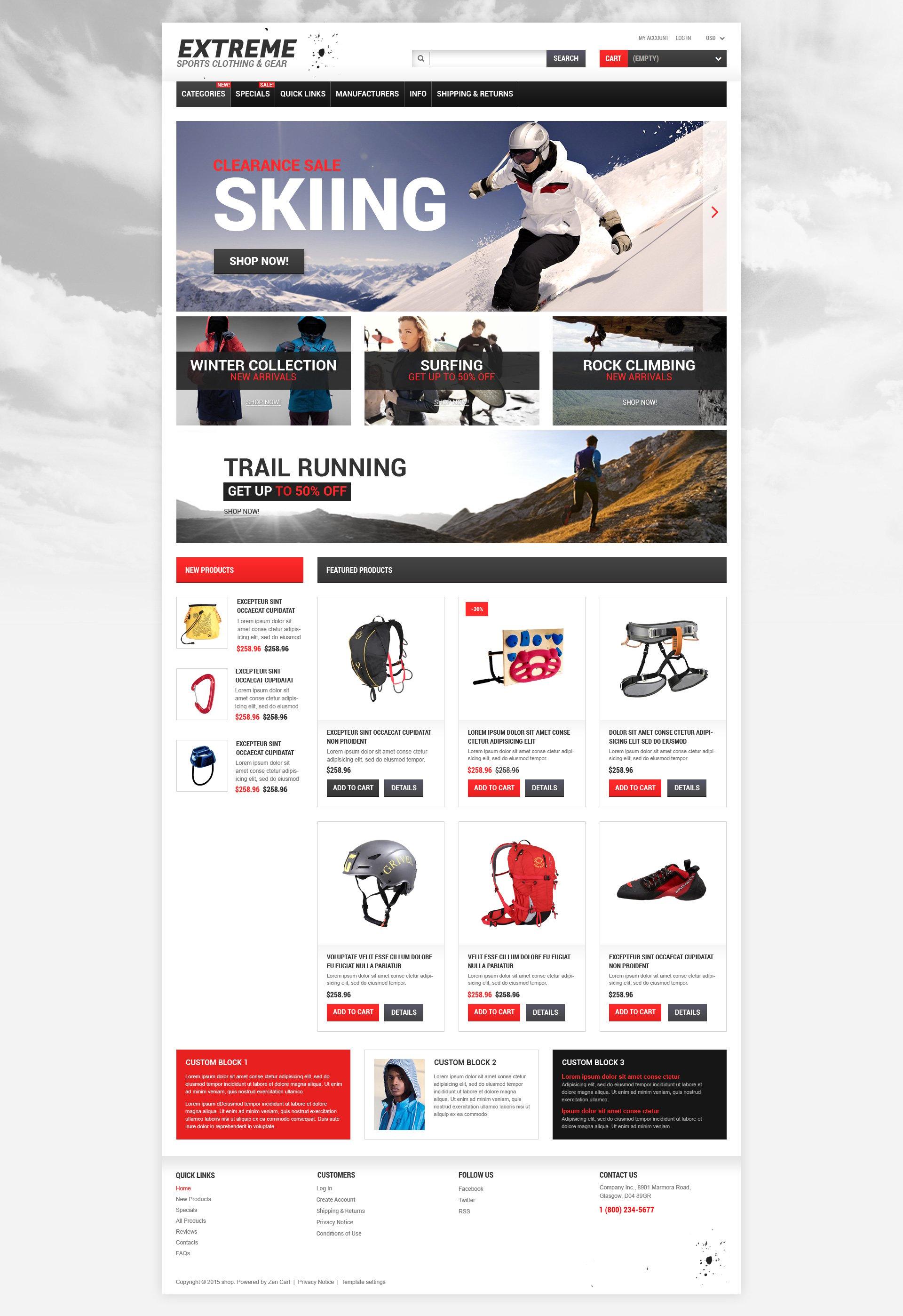 Modello ZenCart Responsive #53474 per Un Sito di Sport Estremi