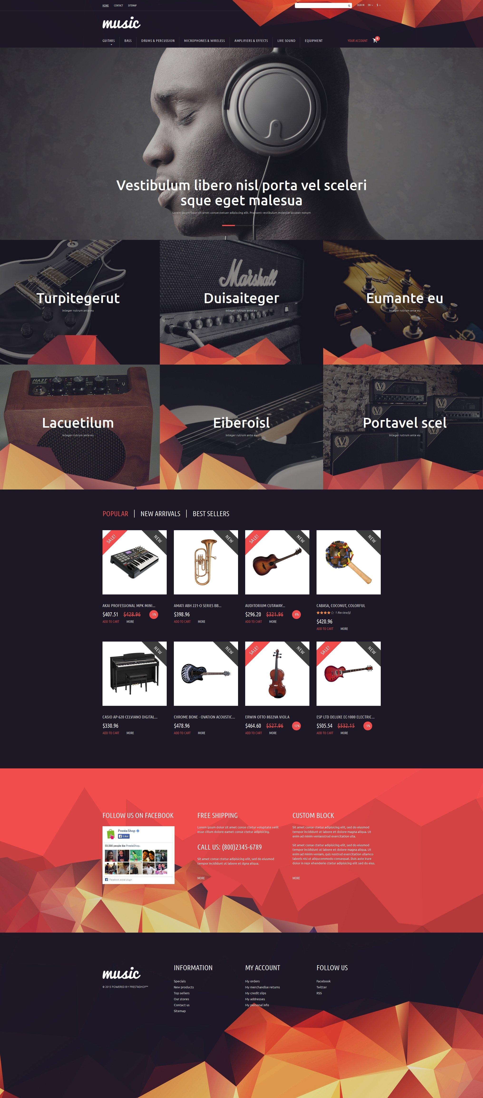 Music Store PrestaShop Theme - screenshot