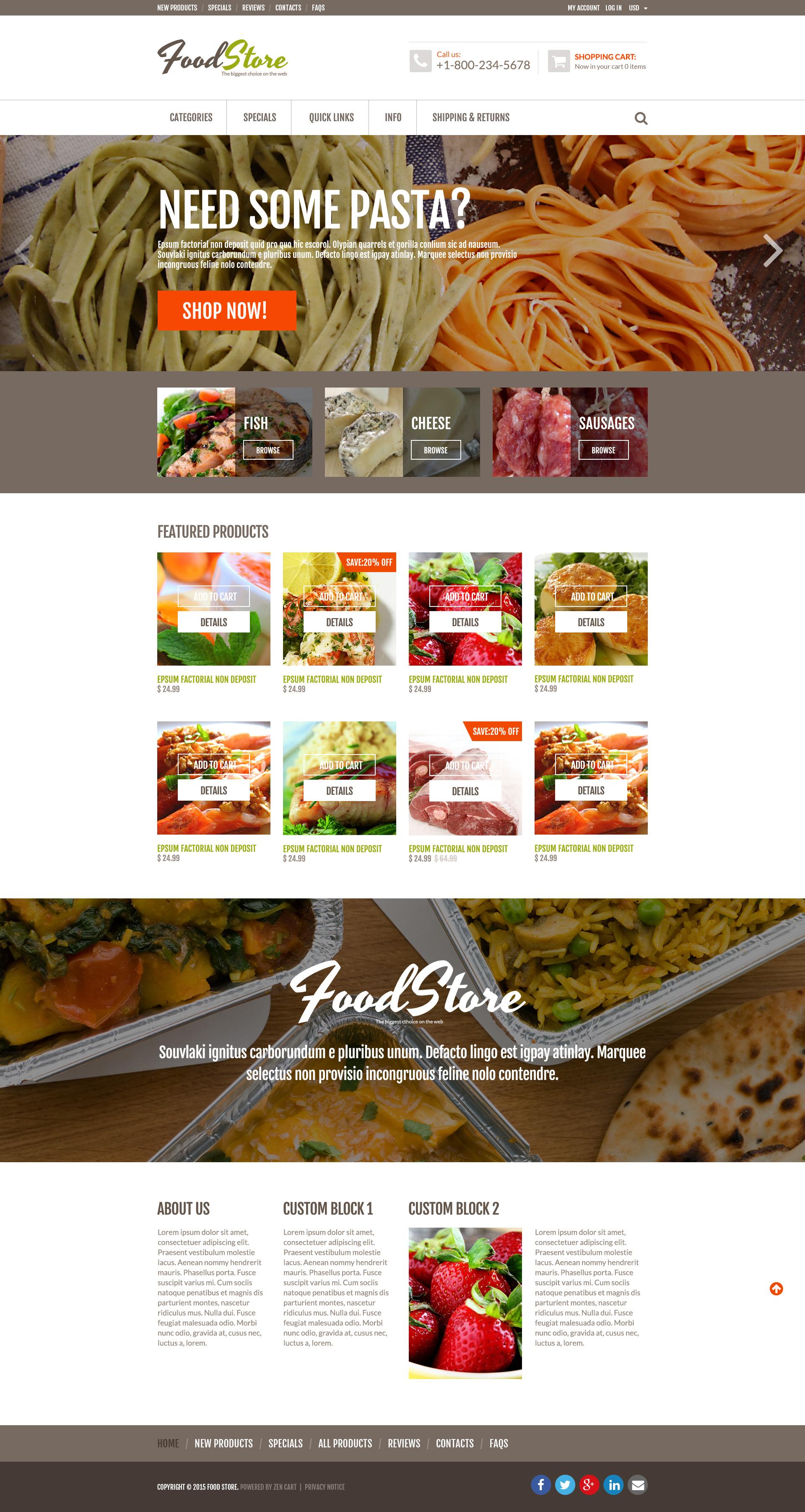 """Online Grocery"" - адаптивний ZenCart шаблон №53476"