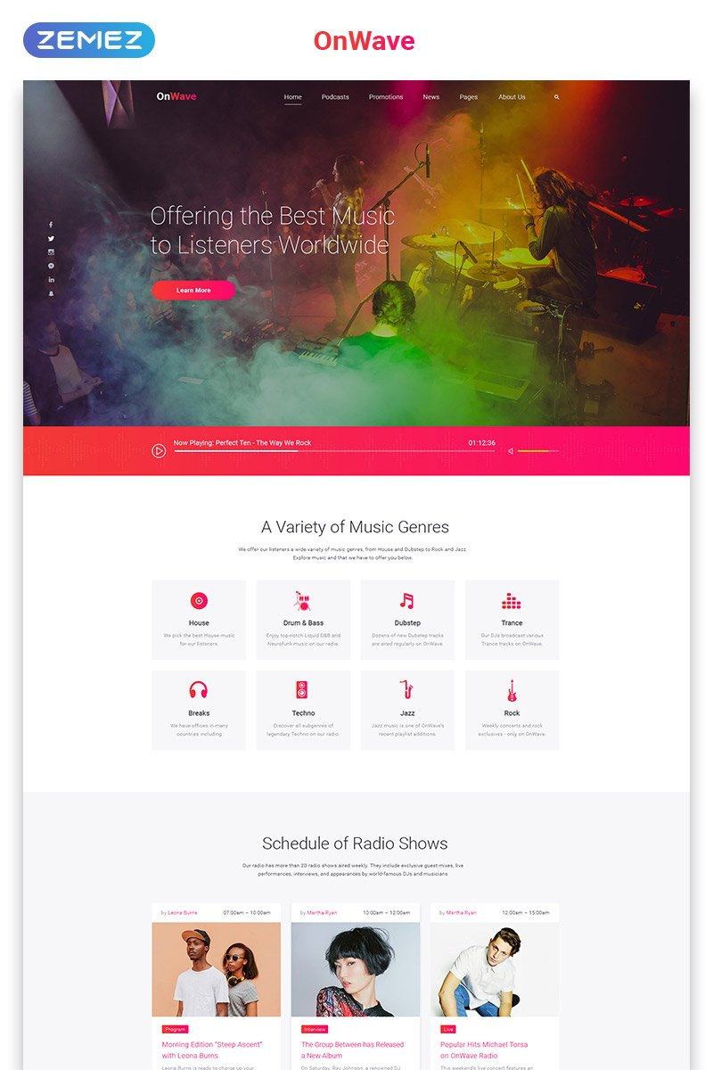 OnWave - Bright Online Radiostation Multipage HTML Website Template