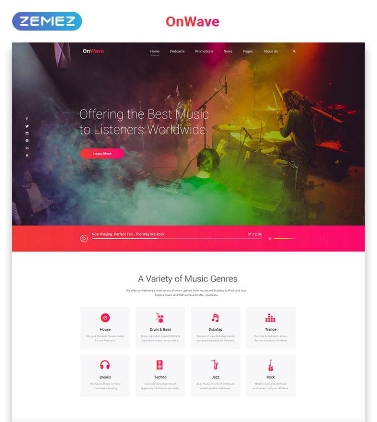 OnWave - Bright Online Radiostation Multipage HTML Website Template