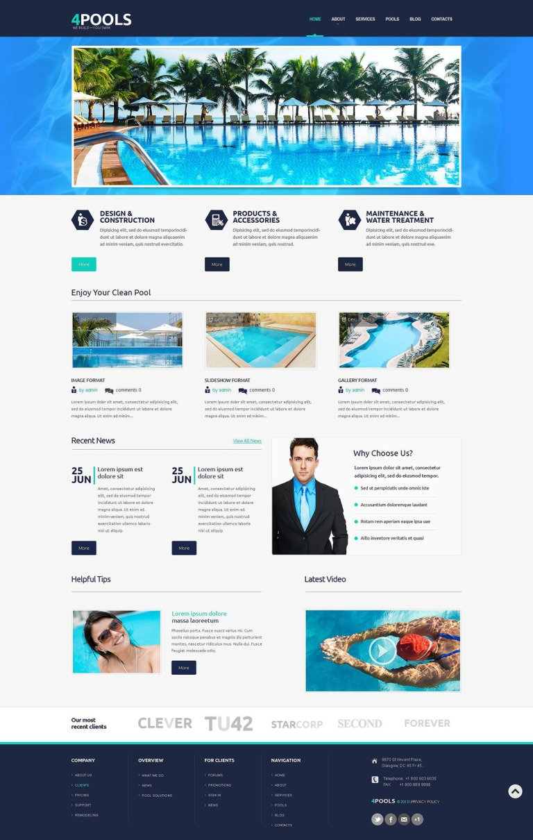 Pool Cleaning Responsive WordPress Theme New Screenshots BIG