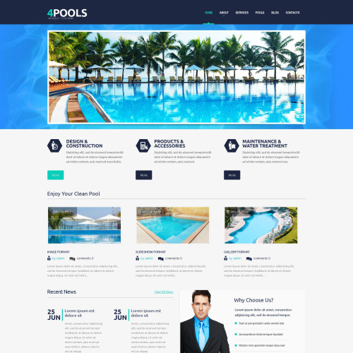 4 Pools - WordPress Template based on Bootstrap