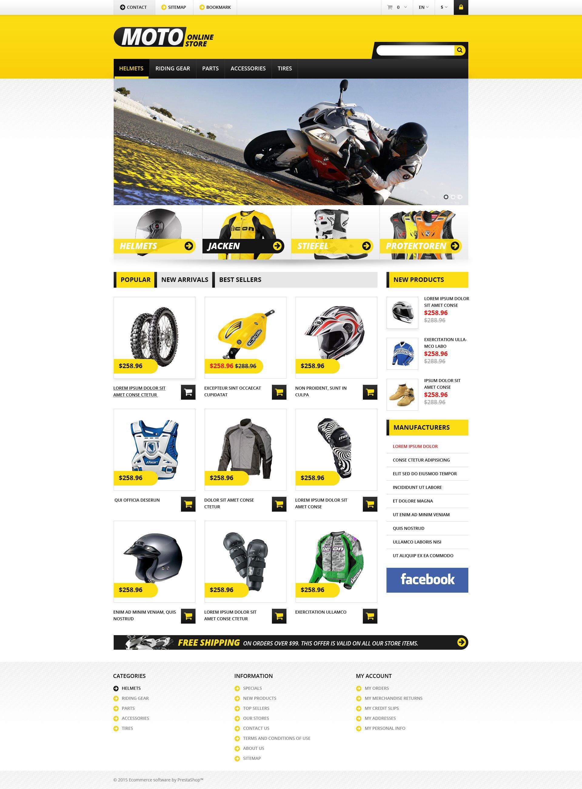 """PrestaShop Theme namens """"Fahrradladen"""" #53401"""