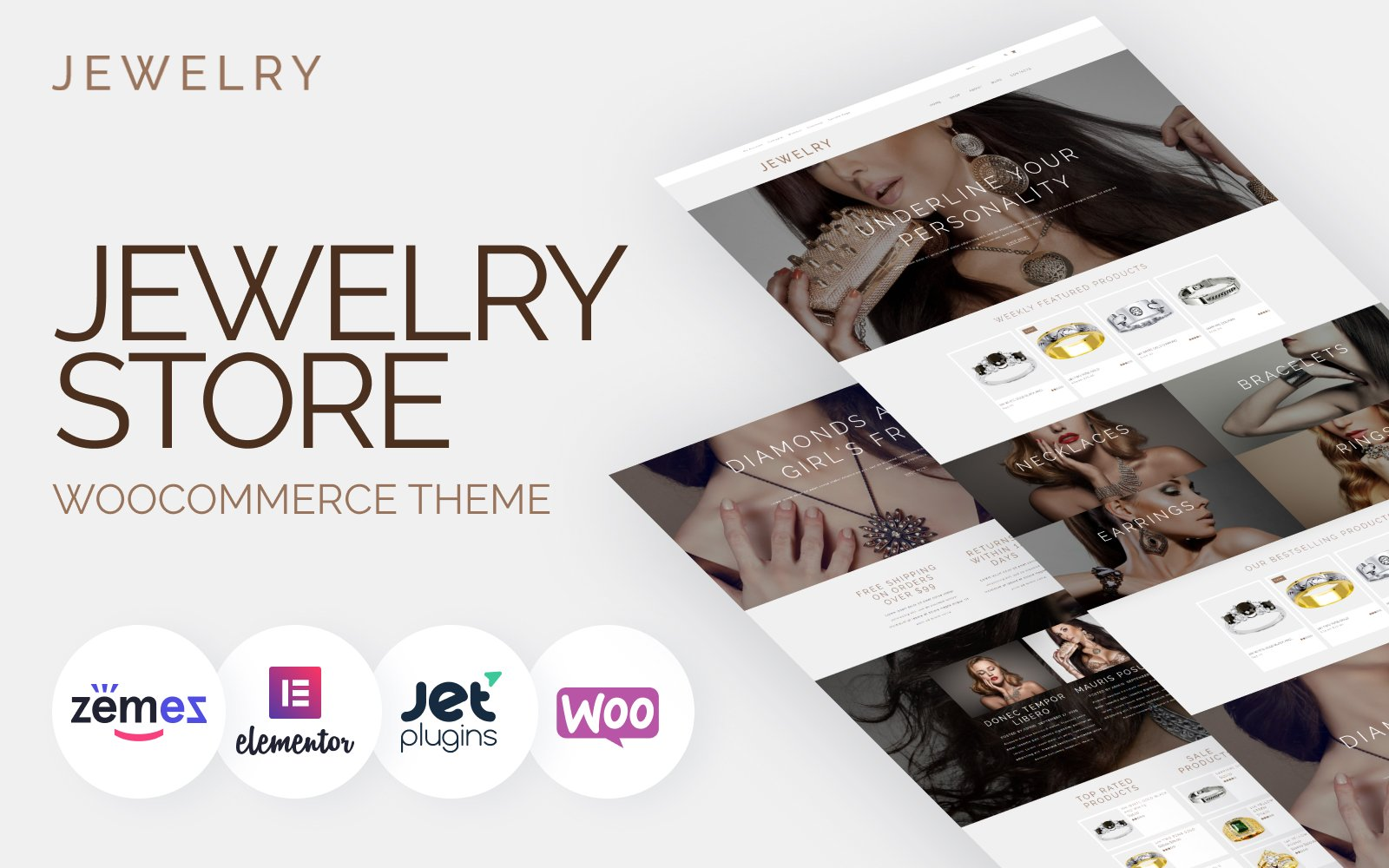 Responsivt Jewelry - Jewelry Website Design Template for Online Shops WooCommerce-tema #53421