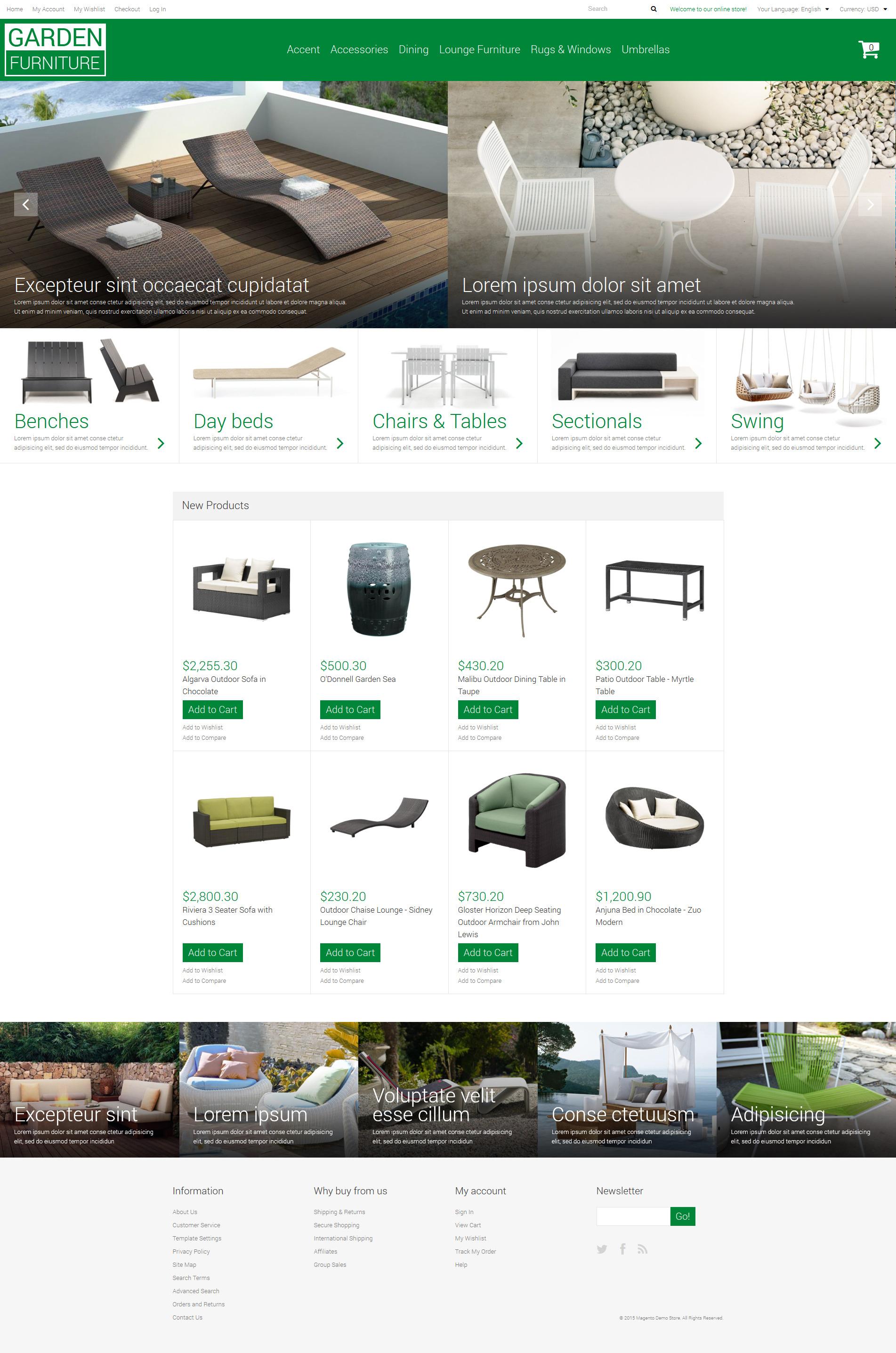 Responsywny szablon Magento Meble ogrodowe #53424 - zrzut ekranu