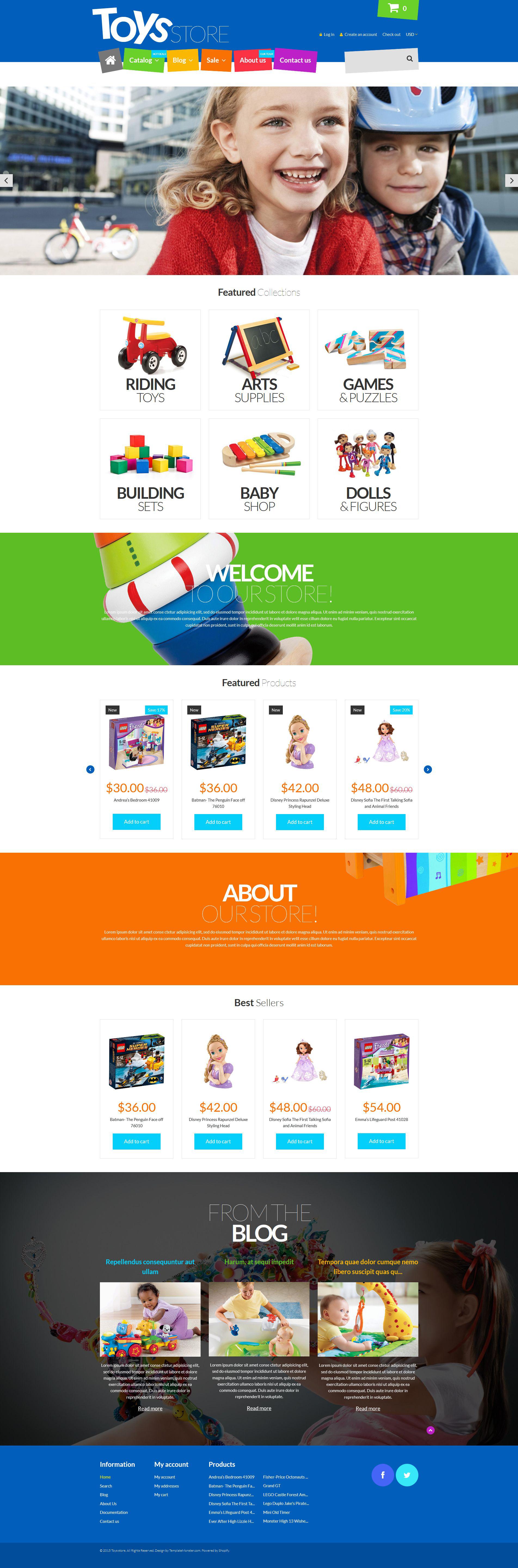 Responsywny szablon Shopify Fun Toys Shop #53440