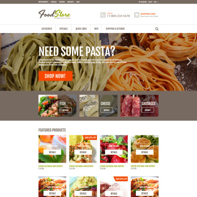 Responsywny szablon ZenCart #53476 na temat: sklep z żywnością
