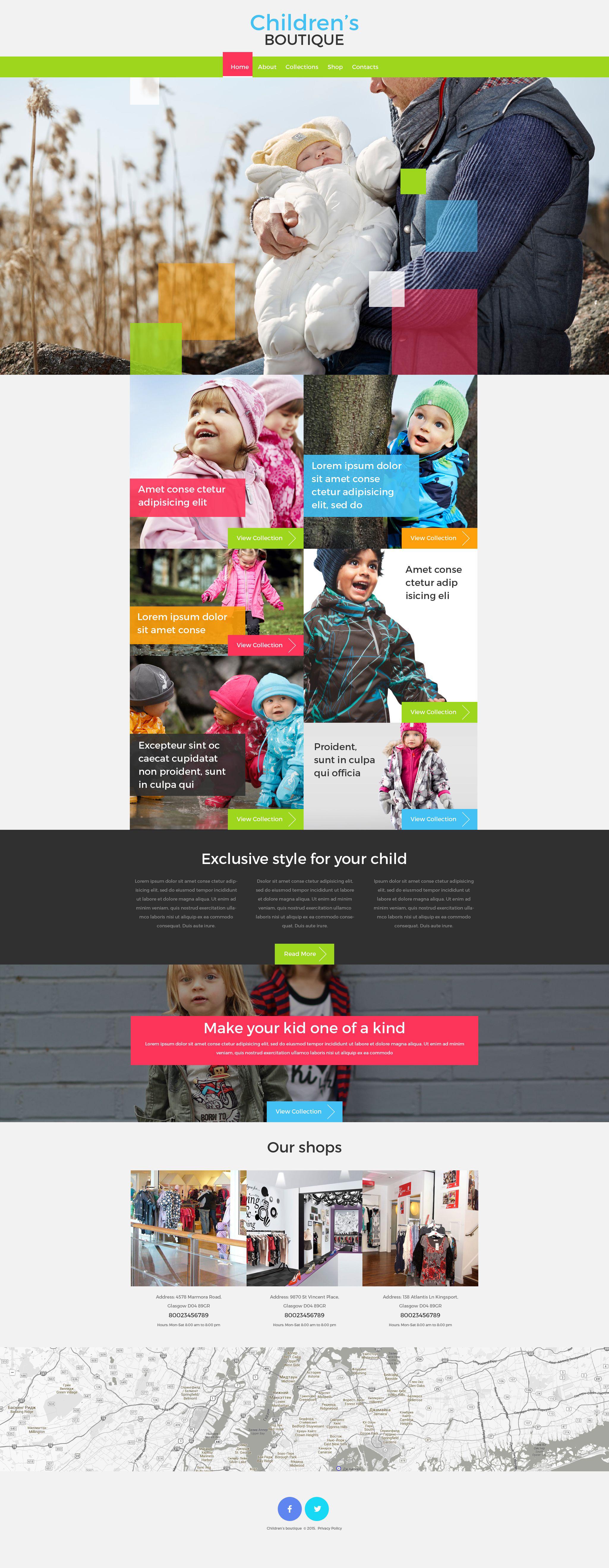 Reszponzív Children's Boutique Weboldal sablon 53417