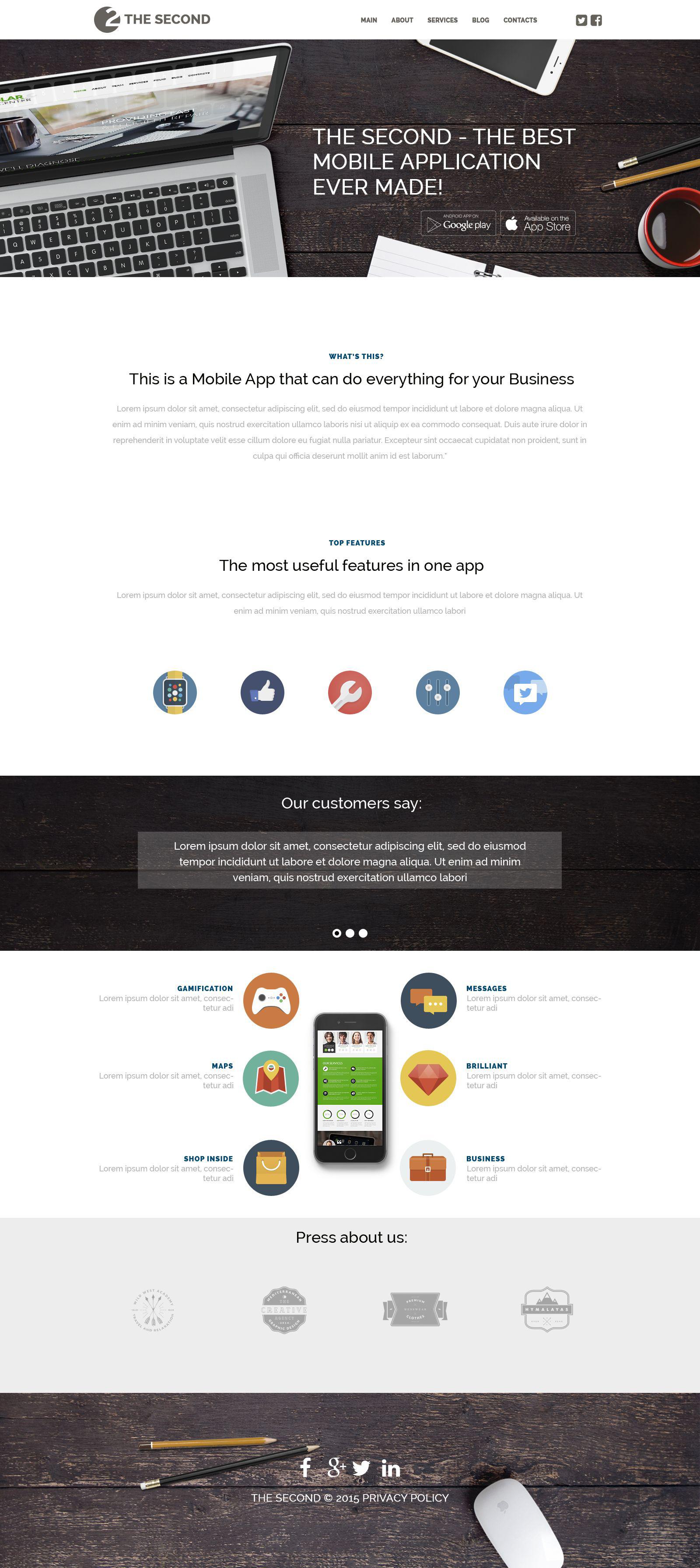 Reszponzív Mobile Applications WordPress sablon 53490 - képernyőkép