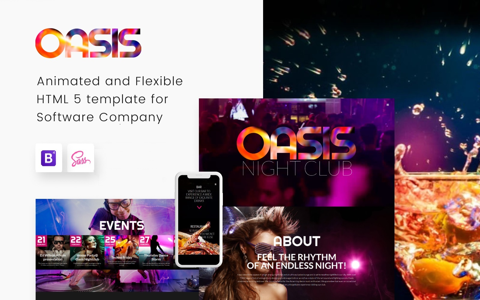 Reszponzív OASIS - Night Club Responsive Weboldal sablon 53412