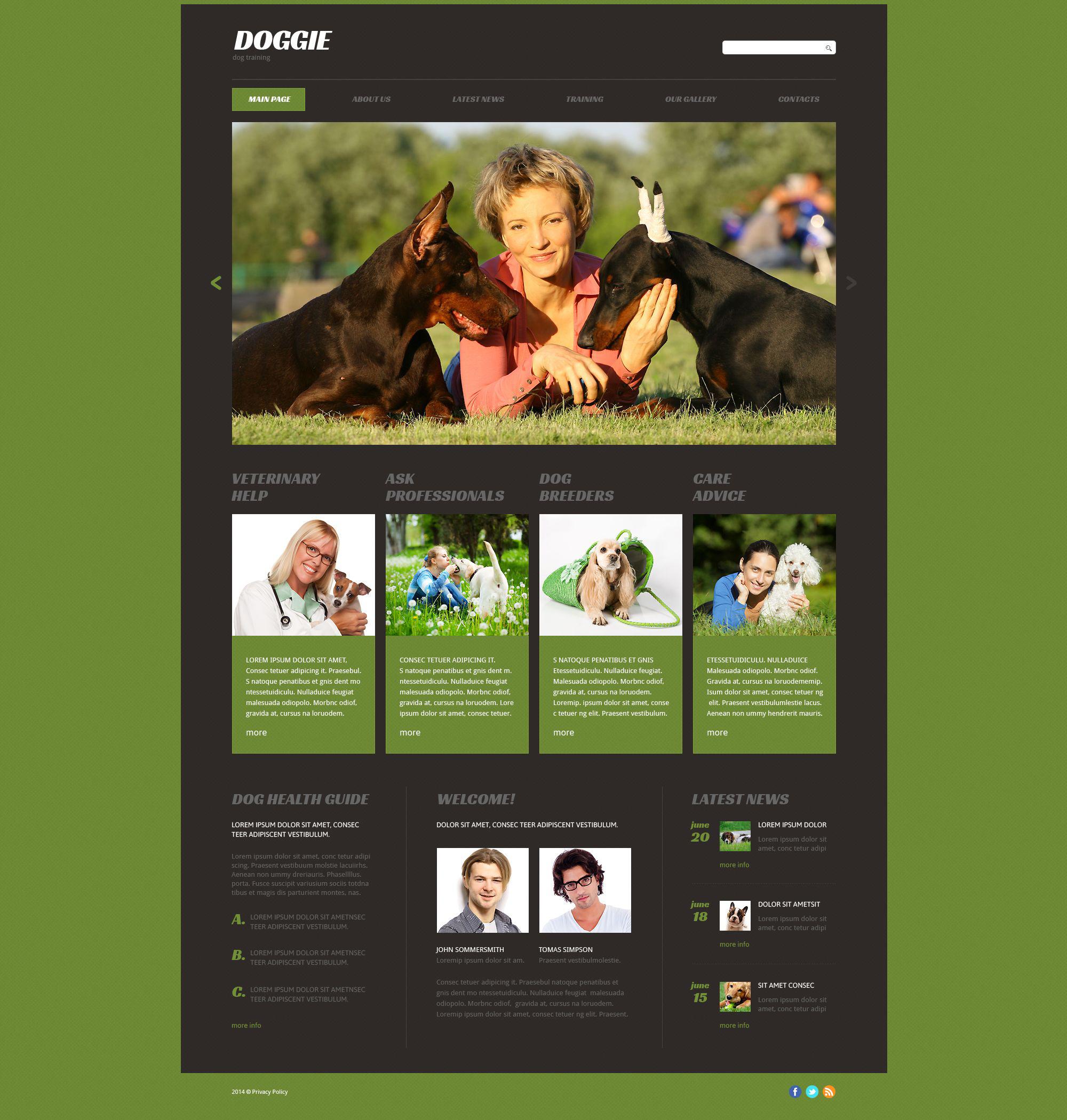 Reszponzív Puppy Courses Weboldal sablon 53413