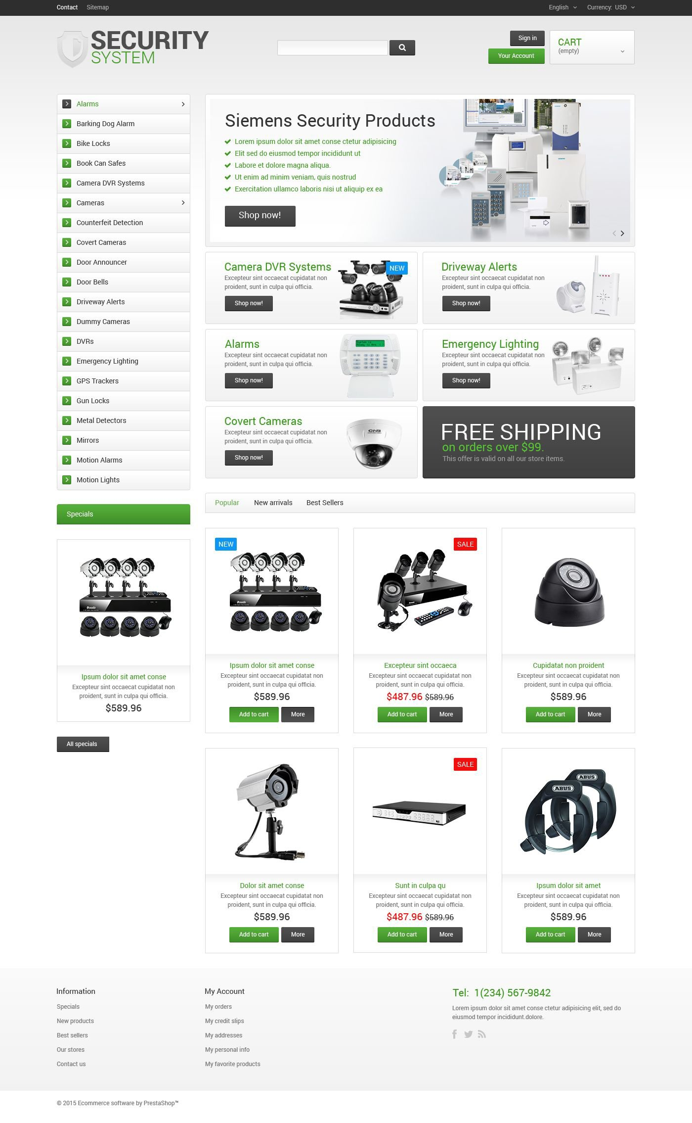 Security System PrestaShop Theme - screenshot