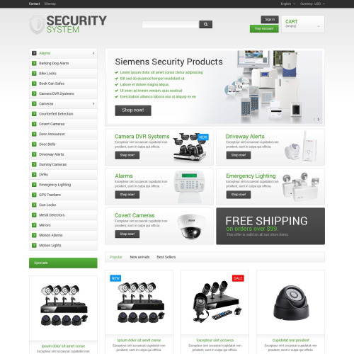 Security System - PrestaShop Template based on Bootstrap