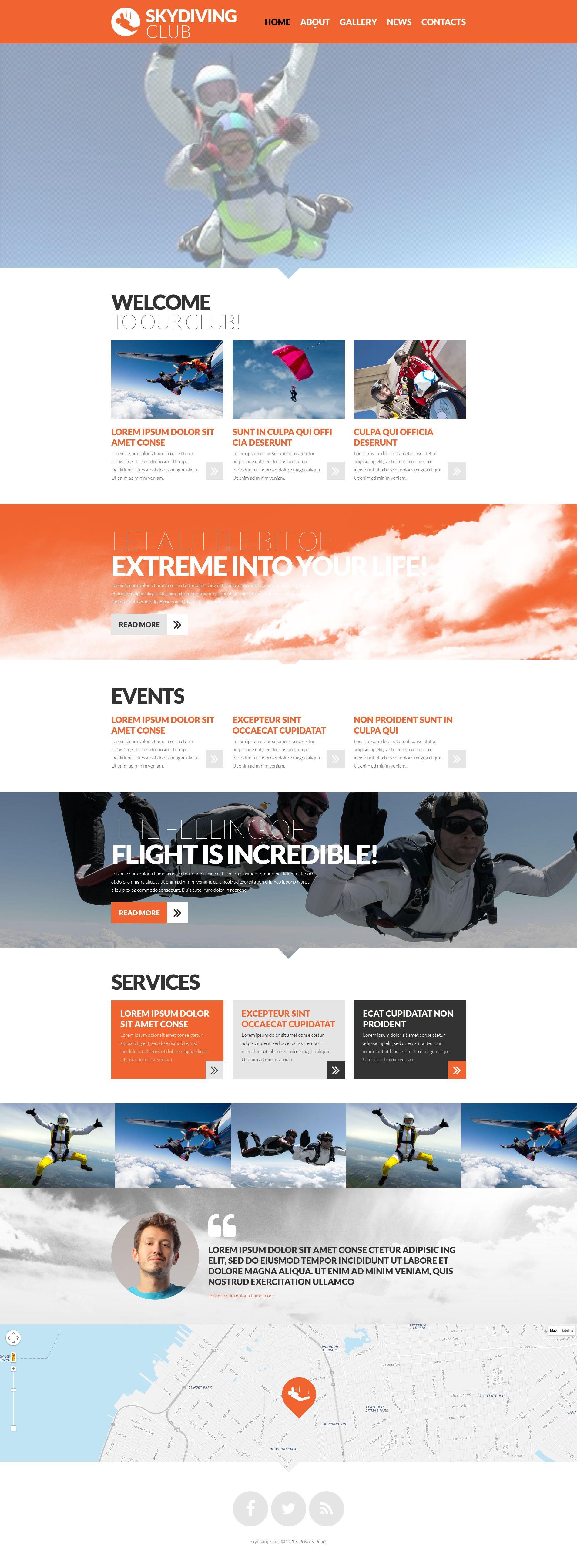 Skydiving Club Website Template