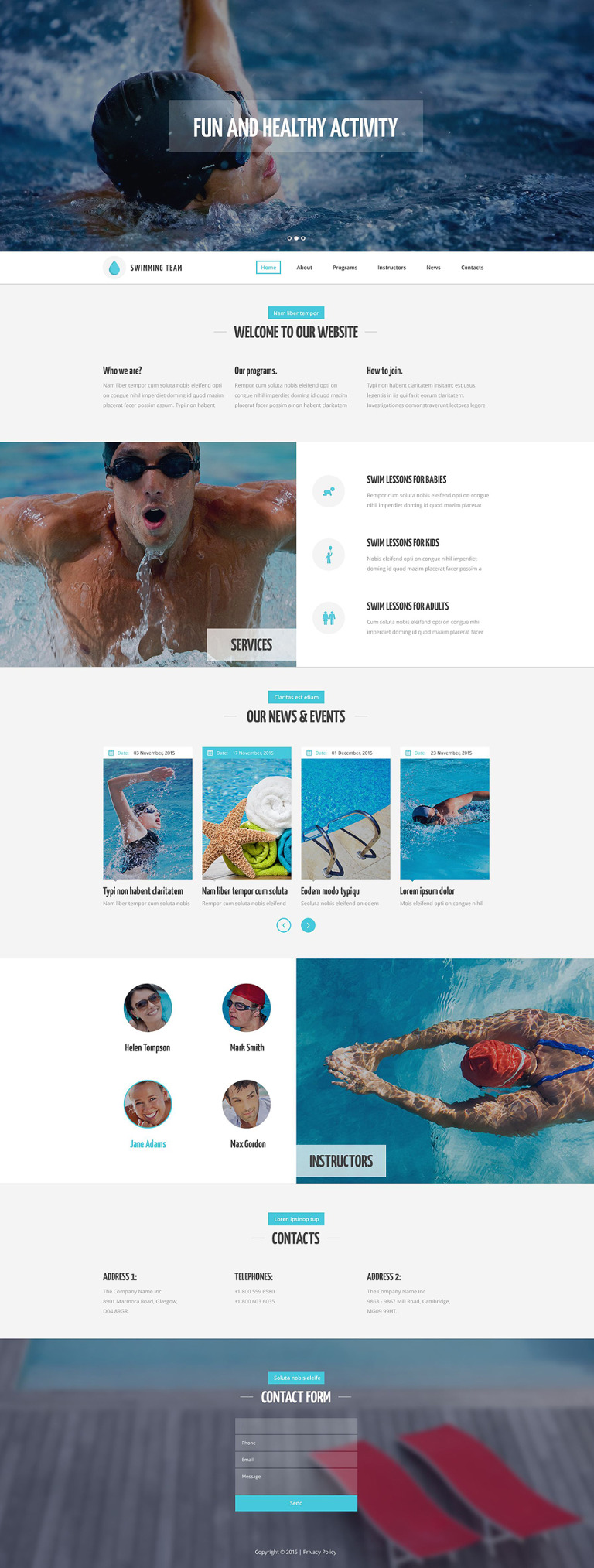 Swim Team Website Template New Screenshots BIG