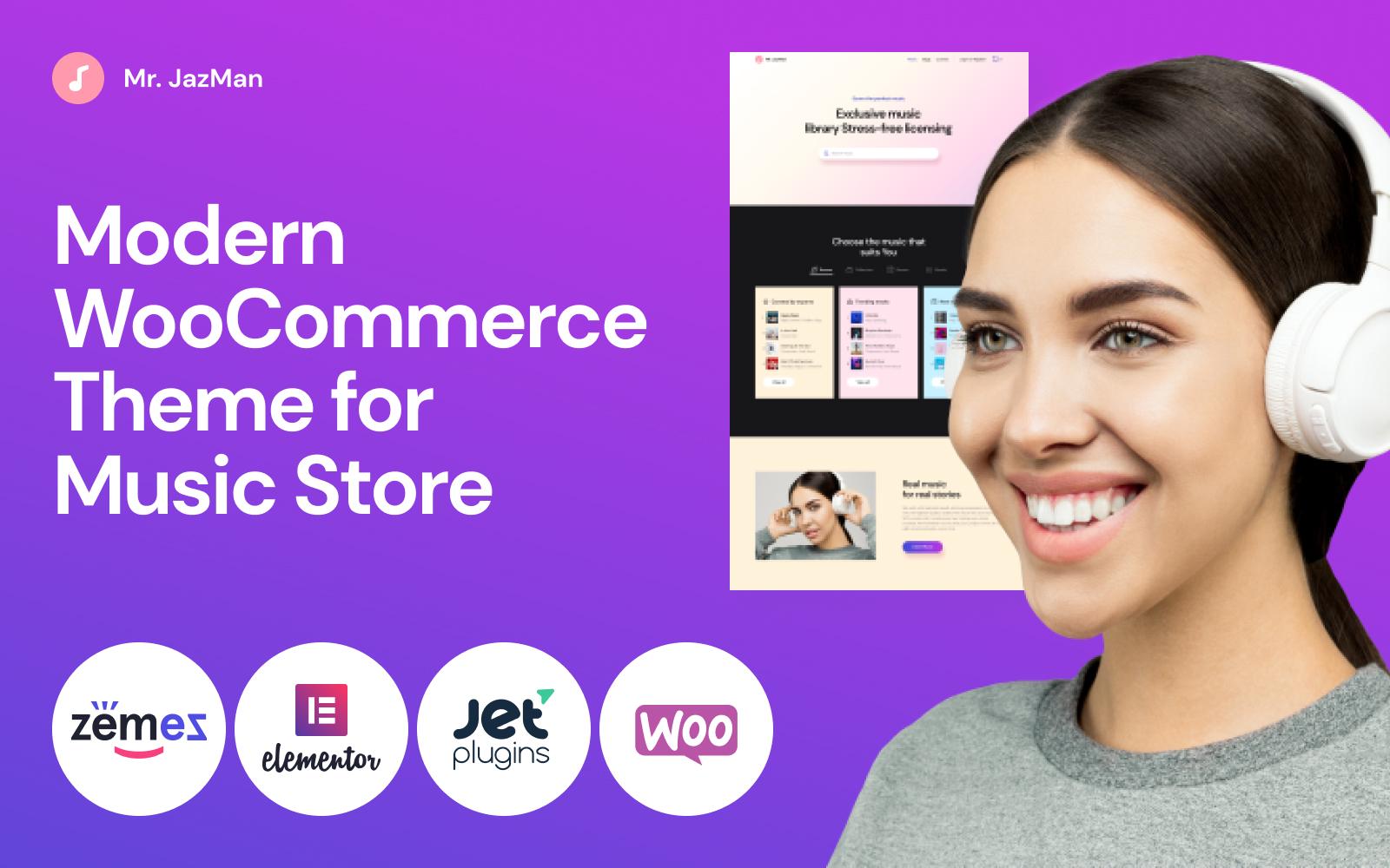 "Tema WooCommerce ""Mr. JazMan - Music Store"" #53494"