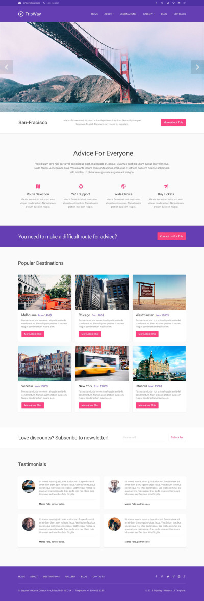 Travel Responsive WordPress Theme #53493