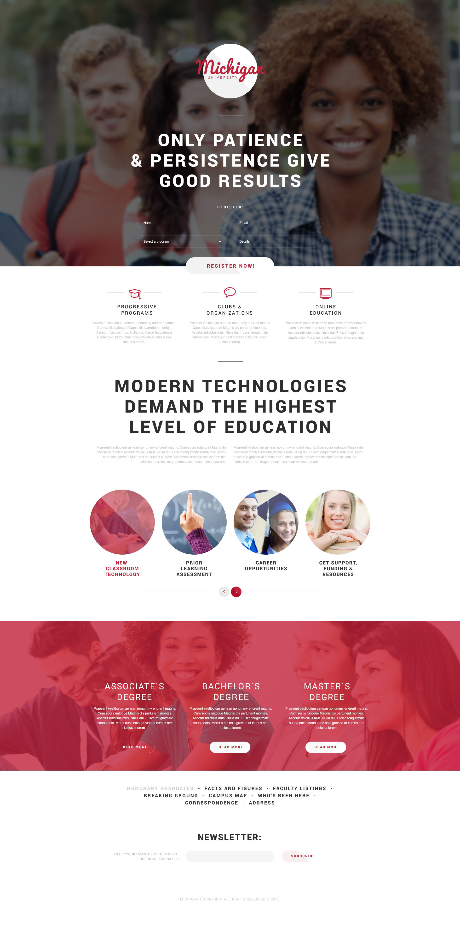 University Responsive Landing Page Template