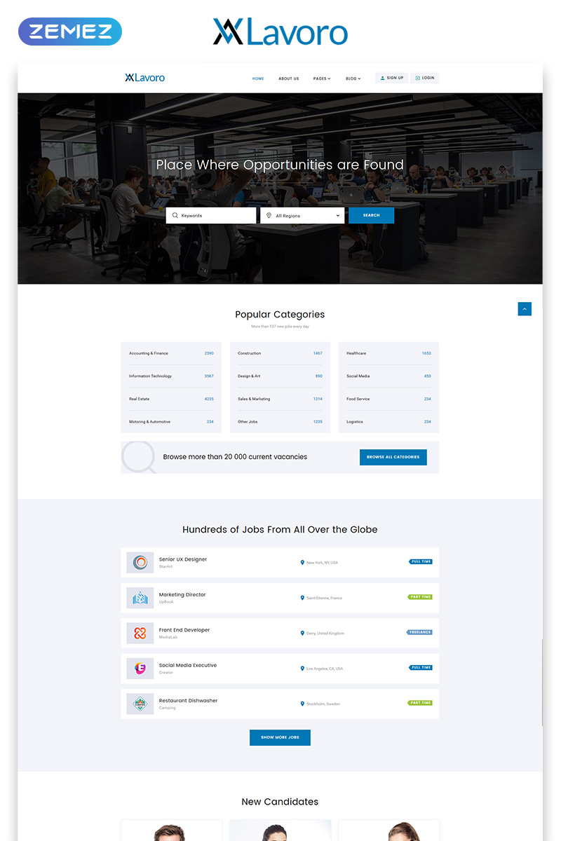 "Website Vorlage namens ""Lavoro - Jobs Portal Multipage HTML5"" #53408 - Screenshot"