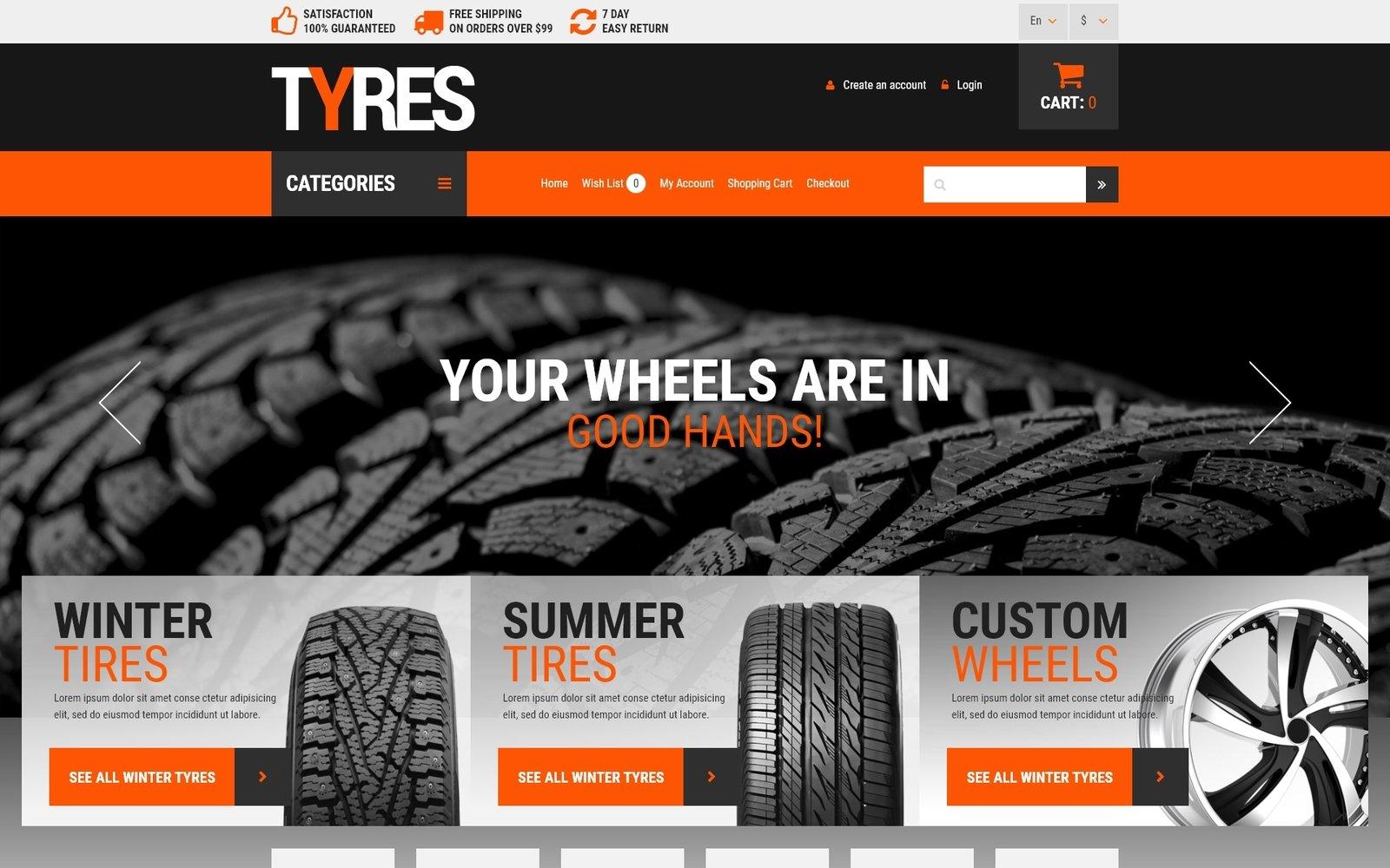 """Wheels and Tyres"" - адаптивний OpenCart шаблон №53498"