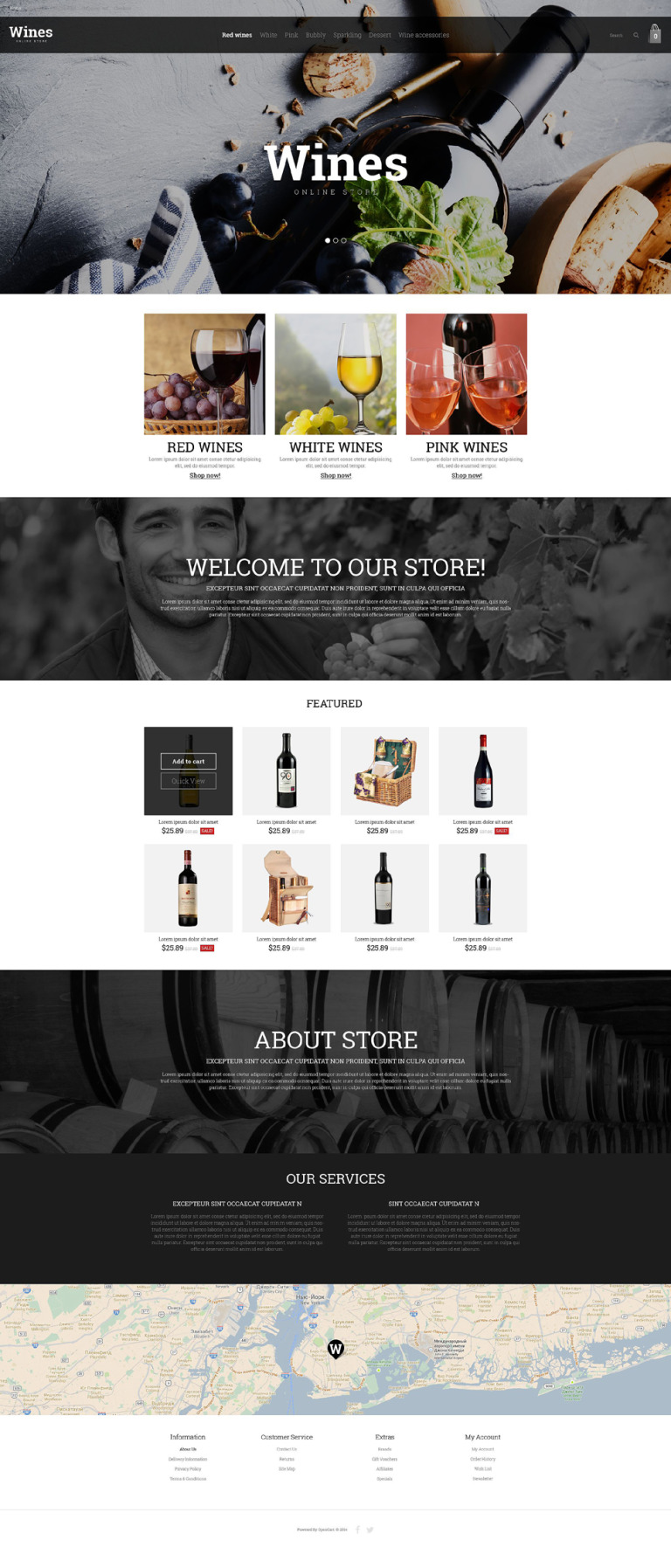 Wine Store OpenCart Template New Screenshots BIG