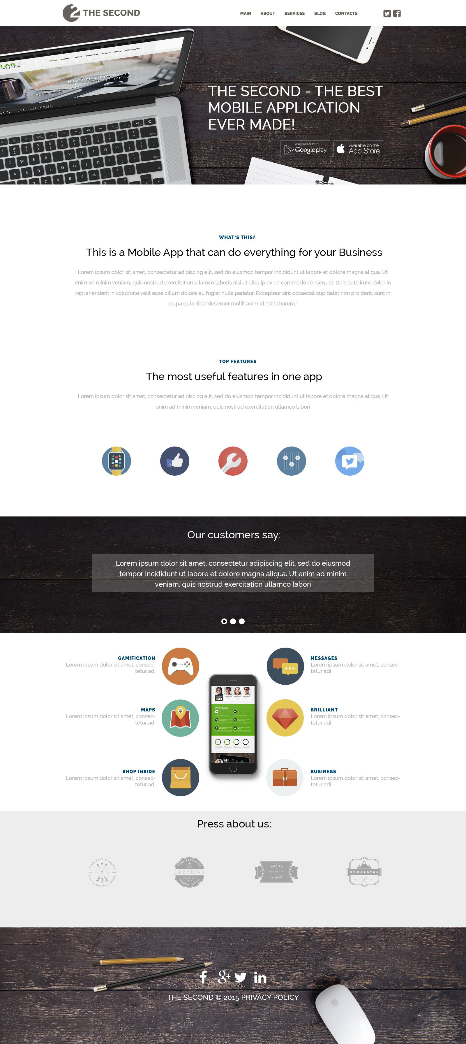 "WordPress Theme namens ""Mobile Anwendungen"" #53490 - Screenshot"