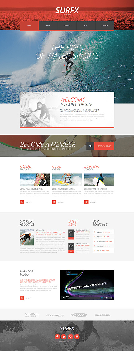 Template #53535 Surfing Club Responsive Template - Desktop Layout