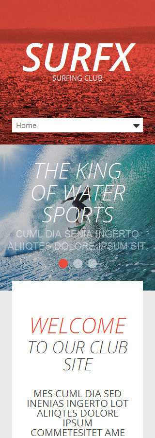 Template #53535 Surfing Club Responsive Template - Smartphone Layout 2