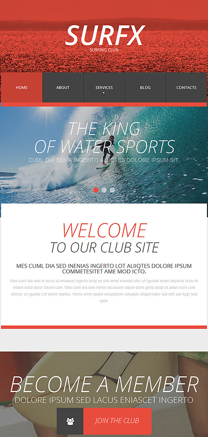 Template #53535 Surfing Club Responsive Template - Tablet Layout