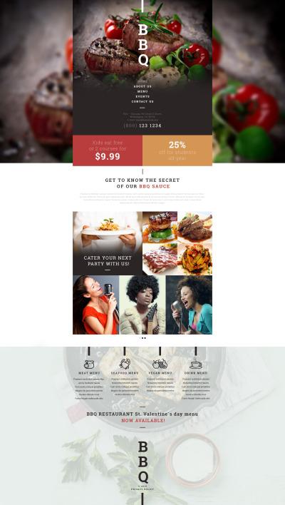 BBQ-restaurang Responsivt Hemsidemall