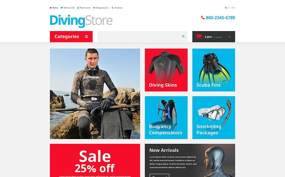 Plantilla OpenCart Responsive para Sitio de Buceo New Screenshots BIG