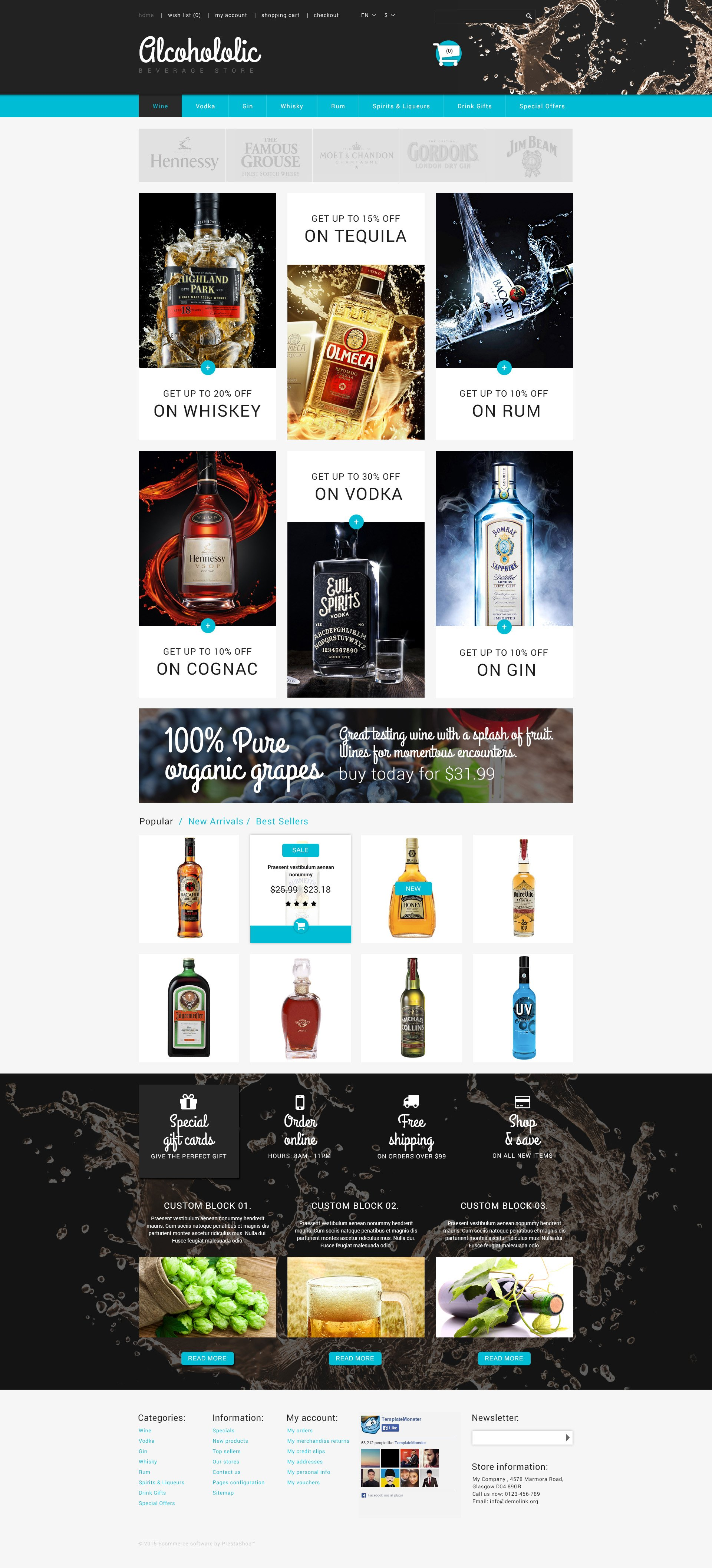 The Alcohololic Alcoholic PrestaShop Design 53586, one of the best PrestaShop themes of its kind (food & drink, most popular), also known as alcohololic alcoholic PrestaShop template, beverage store PrestaShop template, scoth PrestaShop template, whisky PrestaShop template, rum PrestaShop template, cognac PrestaShop template, armagnac PrestaShop template, gin PrestaShop template, jenever PrestaShop template, absinthe PrestaShop template, vodka PrestaShop template, tequila PrestaShop template, glenfiddich PrestaShop template, absolut PrestaShop template, vanilia PrestaShop template, ancnoc PrestaShop template, balvenie PrestaShop template, shopping cart and related with alcohololic alcoholic, beverage store, scoth, whisky, rum, cognac, armagnac, gin, jenever, absinthe, vodka, tequila, glenfiddich, absolut, vanilia, ancnoc, balvenie, shopping cart, etc.