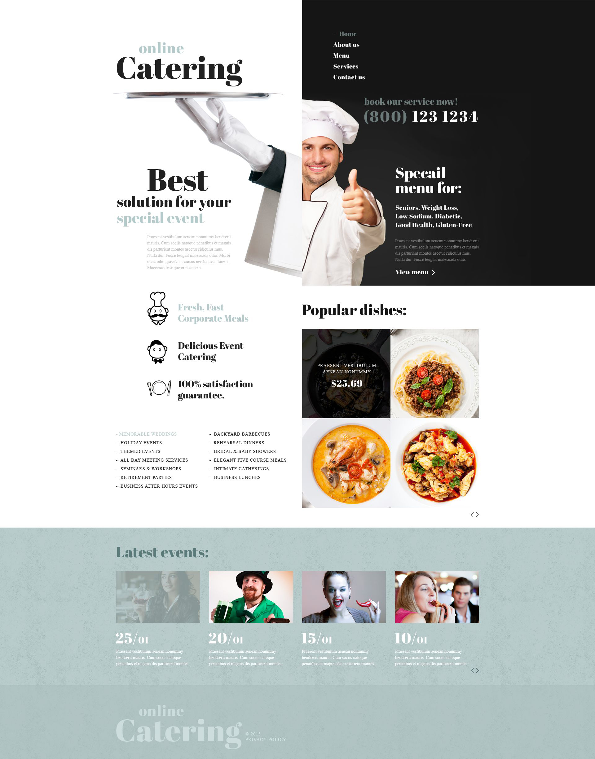 Адаптивний Шаблон сайту на тему громадське харчування №53579 - скріншот
