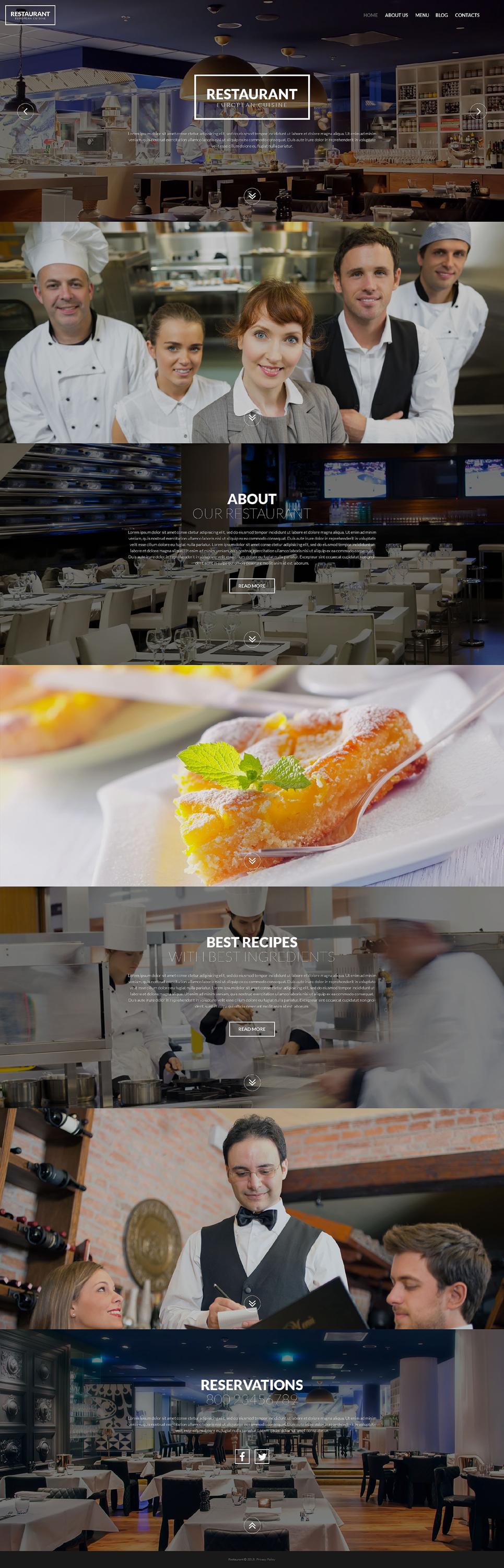 Адаптивный шаблон сайта на тему европейский ресторан #53589
