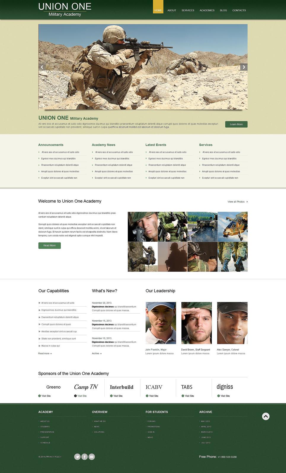 Адаптивный шаблон сайта на тему военная школа #53594