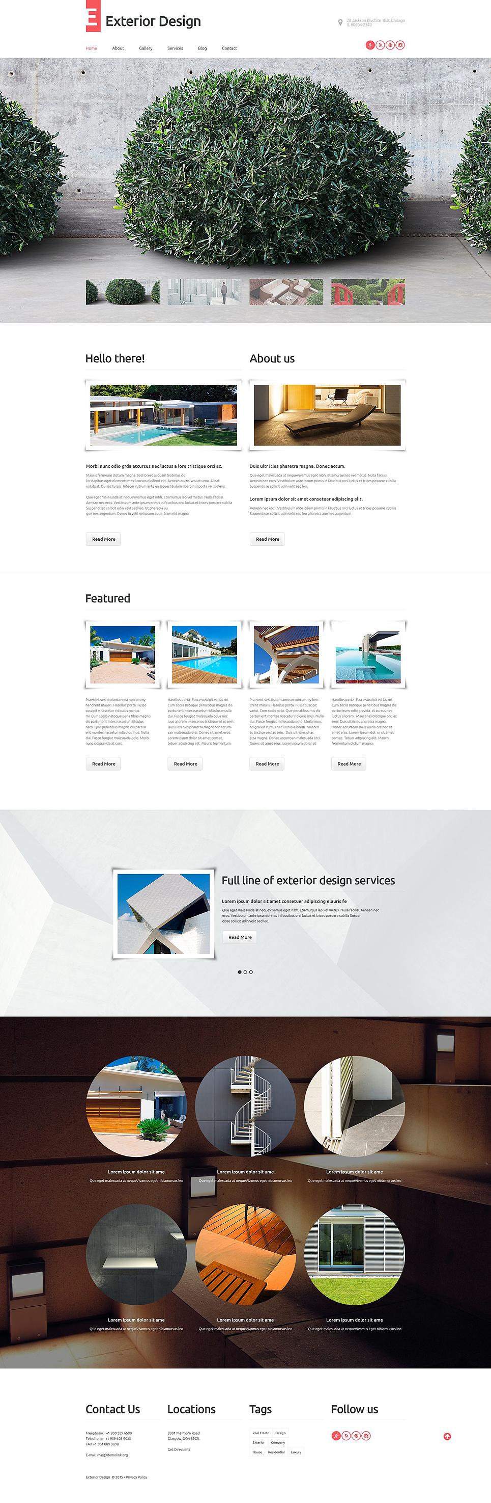 Адаптивный шаблон сайта на тему дизайн экстерьера #53598