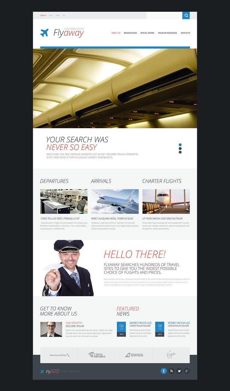 Airline Tickets Website Template New Screenshots BIG