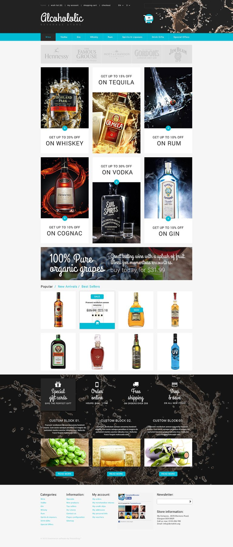 Alcoholic Beverages Store PrestaShop Theme New Screenshots BIG