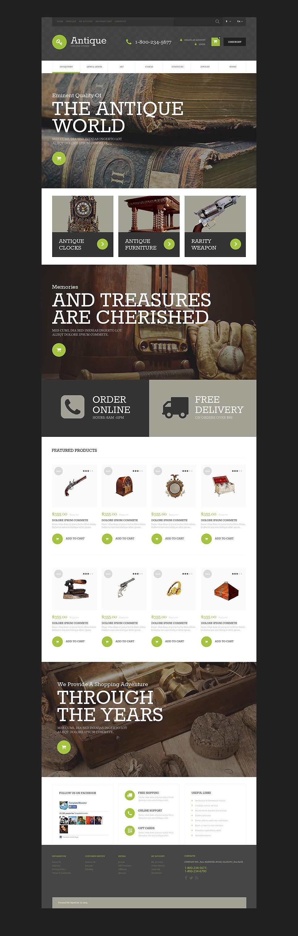 Antique Store OpenCart Template New Screenshots BIG