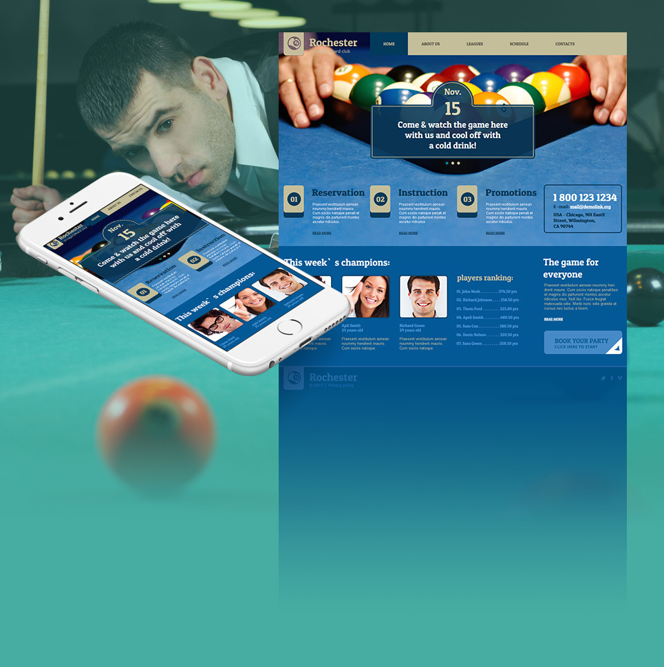 Billiards Moto CMS HTML Template New Screenshots BIG