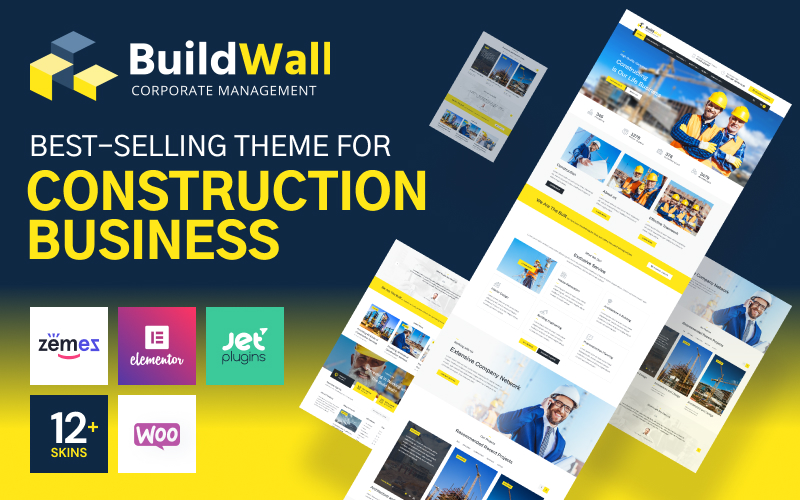 """BuildWall - Construction Company Multipurpose"" - адаптивний WordPress шаблон №53591 - скріншот"