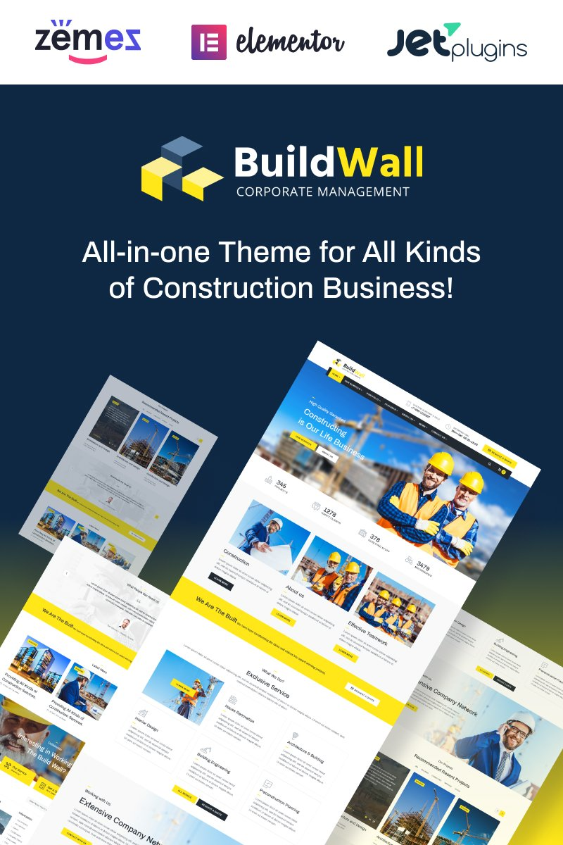 """BuildWall - Construction Company Multipurpose"" Responsive WordPress thema №53591 - screenshot"