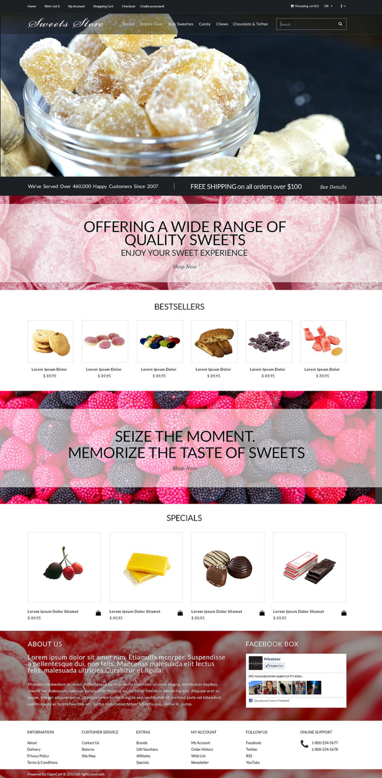 Candy Shop OpenCart Template New Screenshots BIG